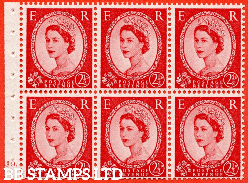"SG. 544b. SB81. 2½d carmine - red. A fine UNMOUNTED MINT "" J9 dot "" booklet pane of 6. Perf type (Ieb) with GOOD PERFS. Smooth edge."