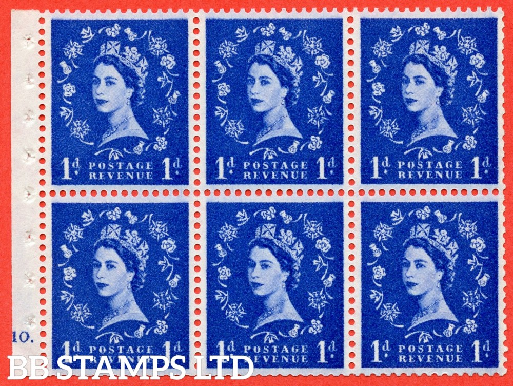 "SG. 571. SB31. 1d Ultramarine. A fine UNMOUNTED MINT cylinder "" F10 dot "" booklet pane of 6. Perf type (Ieb) with GOOD PERFS. Smooth edge White paper."