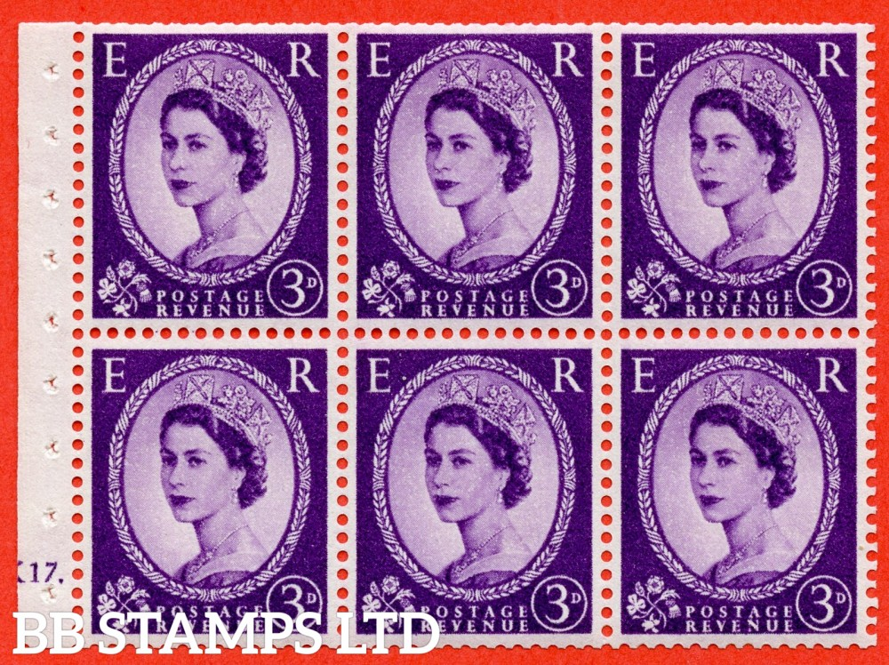 "SG. 575. SB92. 3d Deep Lilac. A fine UNMOUNTED MINT cylinder "" K17 dot "" booklet pane of 6. Perf type (Ieb) with TRIMMED PERFS. Smooth edge. Cream paper."