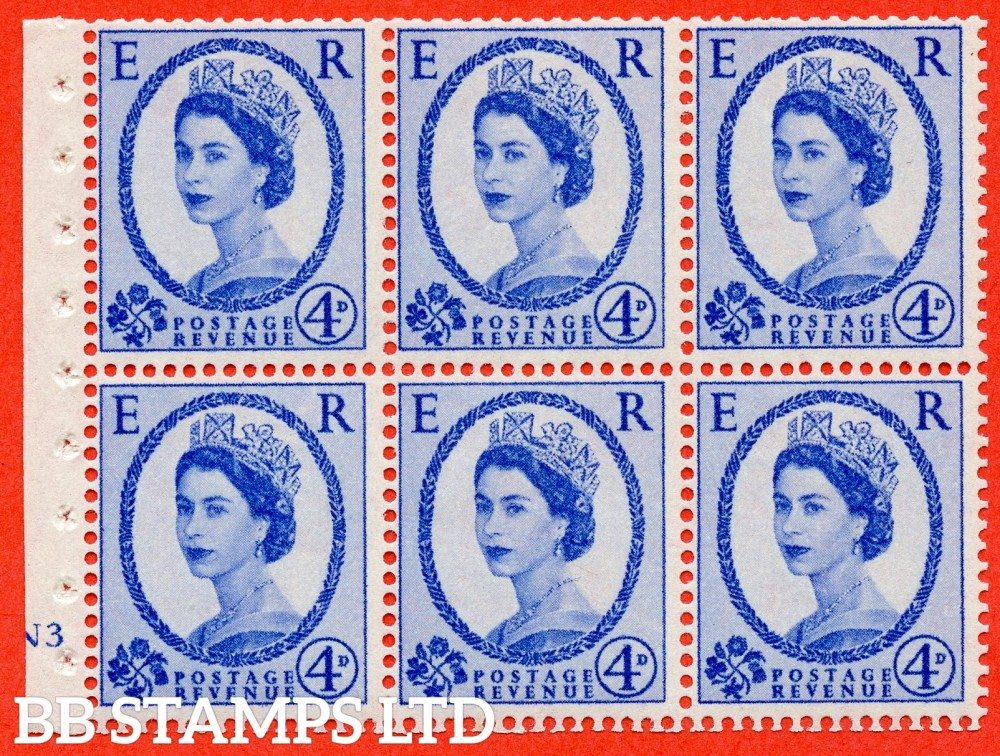 "SG. 576a. SB105f. 4d Deep Ultramarine. A fine UNMOUNTED MINT cylinder "" N3 no dot "" booklet pane of 6. Perf type (I) with GOOD PERFS. Smooth edge. White paper. With listed variety "" Y Flaw "" Row 2/2."
