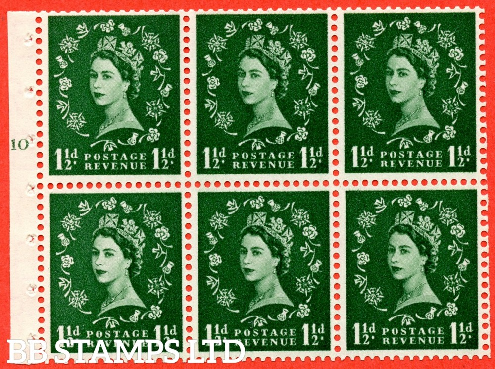 "SG. 542. SB62. 1½d green. A fine UNMOUNTED MINT cylinder "" G10 T no dot "" booklet pane of 6. Perf type (I) with GOOD PERFS. Smooth edge."