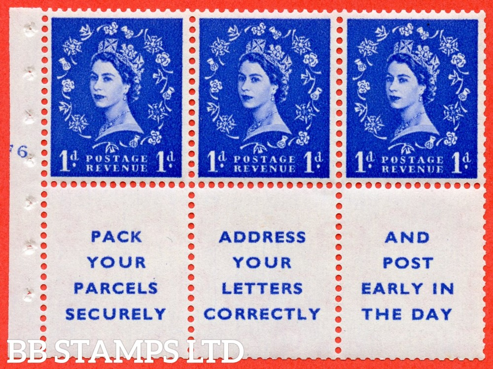 "SG. 516. SB25. 1d ultramarine. A fine UNMOUNTED MINT cylinder "" F6 no dot "" booklet pane of 6. Perf type (I) with TRIMMED PERFS. Smooth edge."