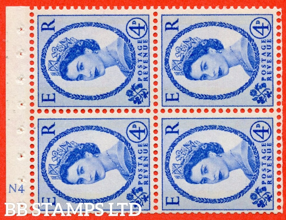 "SG. 616a. SB110ac. 4d Deep Ultramarine. A fine UNMOUNTED MINT cylinder "" N4 ( Wmk right ) no dot "" booklet pane of 4. Perf type (I) with GOOD PERFS. Smooth edge. White Paper. UNPRICED in Stanley Gibbons."