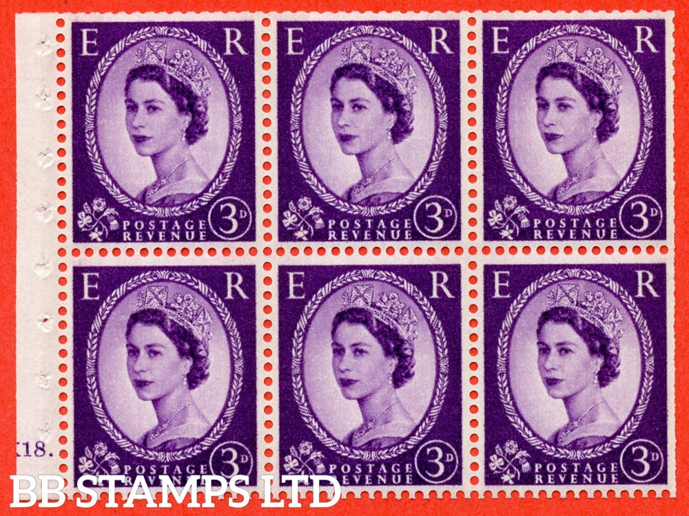 "SG. 615. SB99. 3d Deep Lilac. A fine mounted mint cylinder "" K18 dot "" booklet pane of 6. Perf type (Iet) with TRIMMED PERFS. Smooth edge. Cream Paper."