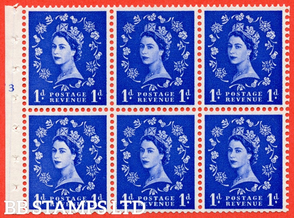 "SG. 541. SB26. 1d ultramarine. A fine mounted mint cylinder "" F3 T no dot "" booklet pane of 6. Perf type (I) with TRIMMED PERFS. Smooth edge."