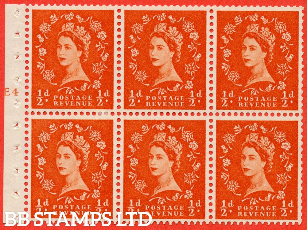 "SG. 570. SB7. ½d orange - red. A fine mounted mint cylinder "" E4 T no smudge - no dot "" booklet pane of 6. Perf type (Iet) with TRIMMED PERFS. Smooth edge."