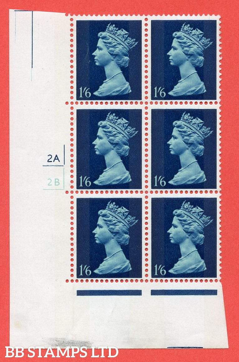 "SG. 743. U27. 1/6 greenish blue and deep blue  A superb UNMOUNTED MINT "" cylinder 2a 2b no dot "" control block of 6 with perf type A (E/I). gum arabic. Head A."