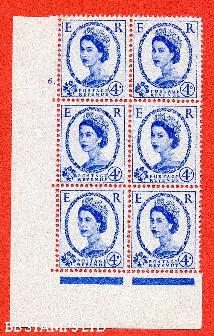 "SG S83. 4d ultramarine  A fine mounted mint "" cylinder 6 dot "" control block of 6 with perf type A (E/I)."