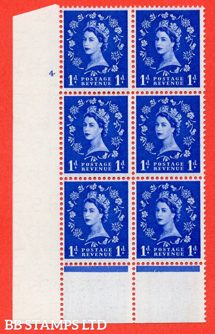 """SG. 541. S14. 1d. Ultramarine. A superb UNMOUNTED MINT """" cylinder 4 no dot """" control block of 6 with perf type B I/P"""