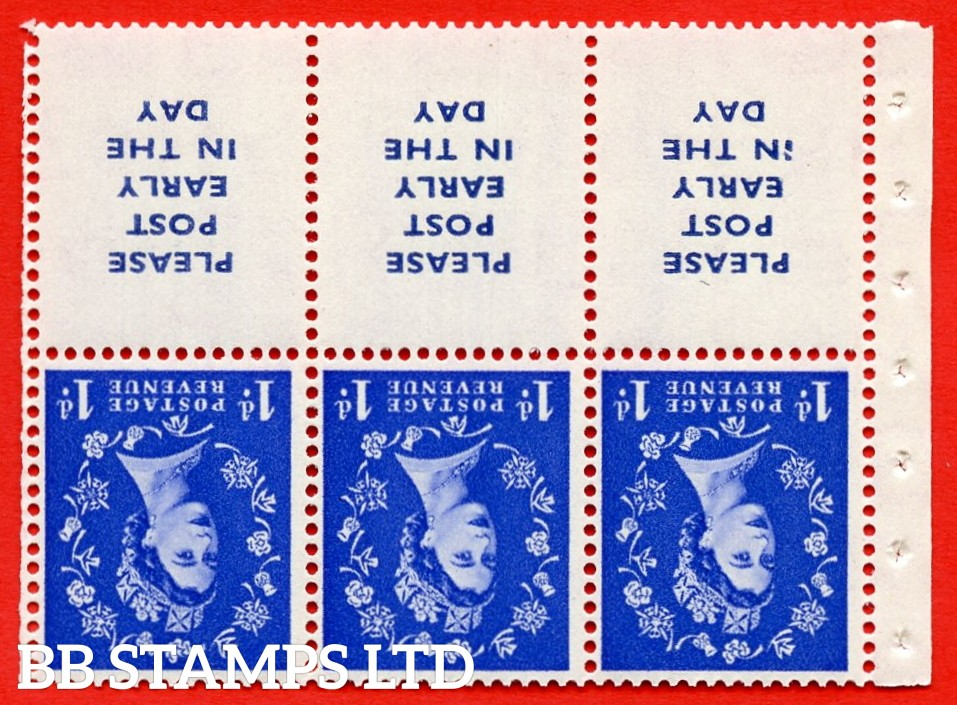 SG. 516Lawi. SB24a. 1d ultramarine. A fine UNMOUNTED MINT. WATERMARK INVERTED. Complete booklet pane of 6. Perf type (Ieb) with Good PERFS.