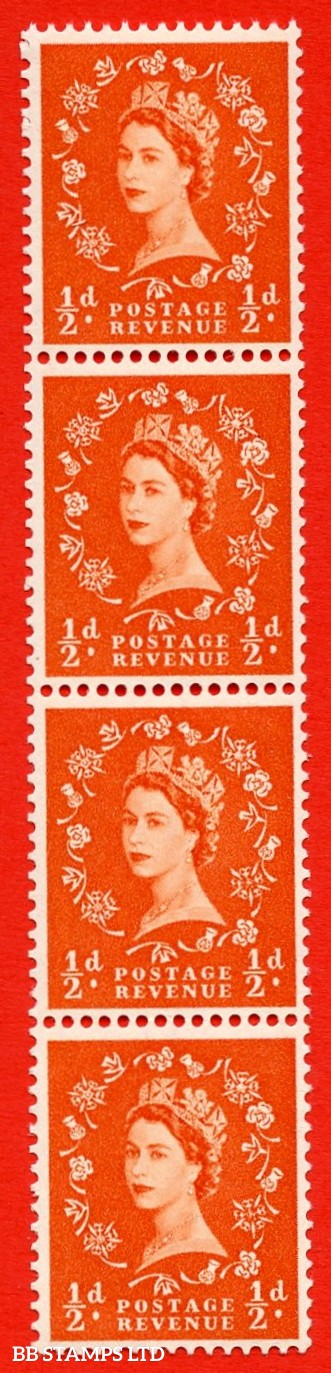 SG. 540. S2i. ½d. Orange-red. A fine UNMOUNTED MINT example. Vertical Coil strip of 4. With a Shamrock flaw ERROR roll 11 variety.