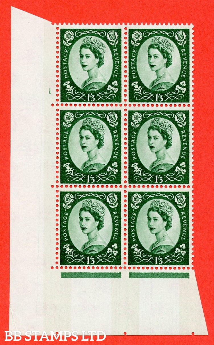 "SG.618. S147. 1/3d Green. A fine mounted mint "" cylinder 1 no dot "" control block of 6 with perf type A (E/I). Blue Phosphor White paper."