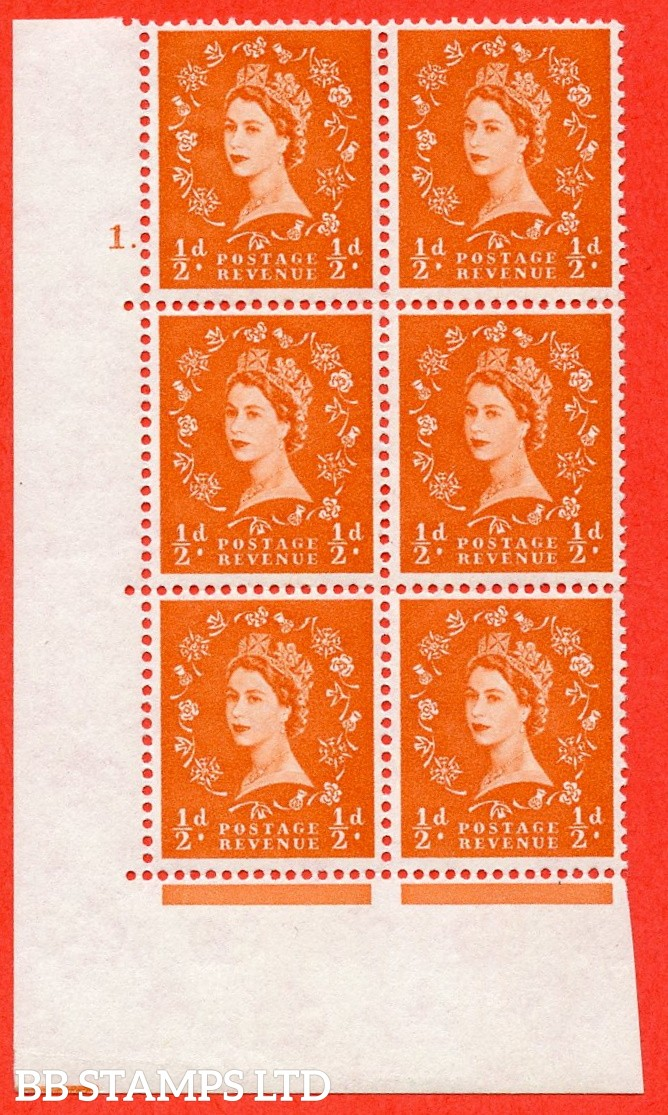 "SG. 570. S5. ½d Orange. A superb UNMOUNTED MINT "" cylinder 1 dot "" control block of 6 with perf type A E/I. WHITE paper."
