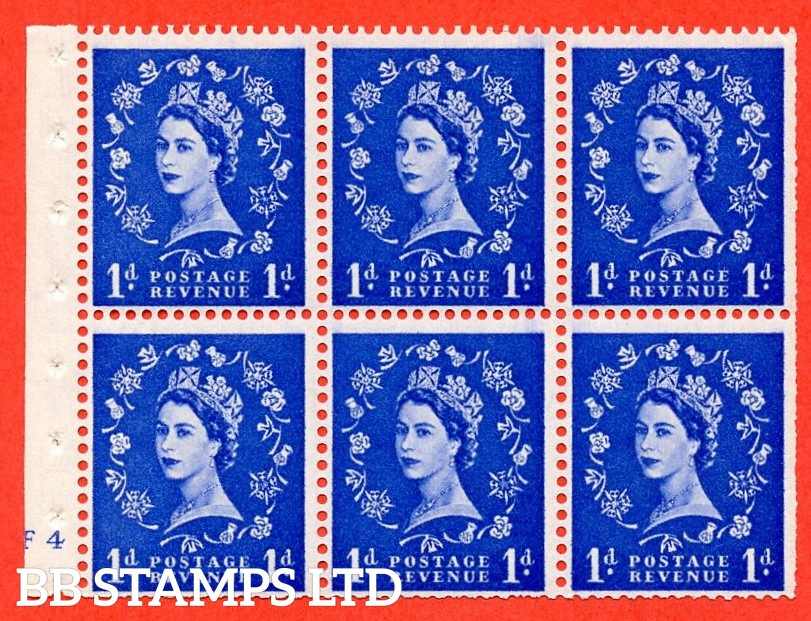 "SG. 541. SB26. 1d ultramarine. A fine UNMOUNTED MINT cylinder "" F4 no dot "" booklet pane of 6. Perf type (I) with TRIMMED PERFS. Smooth edge."