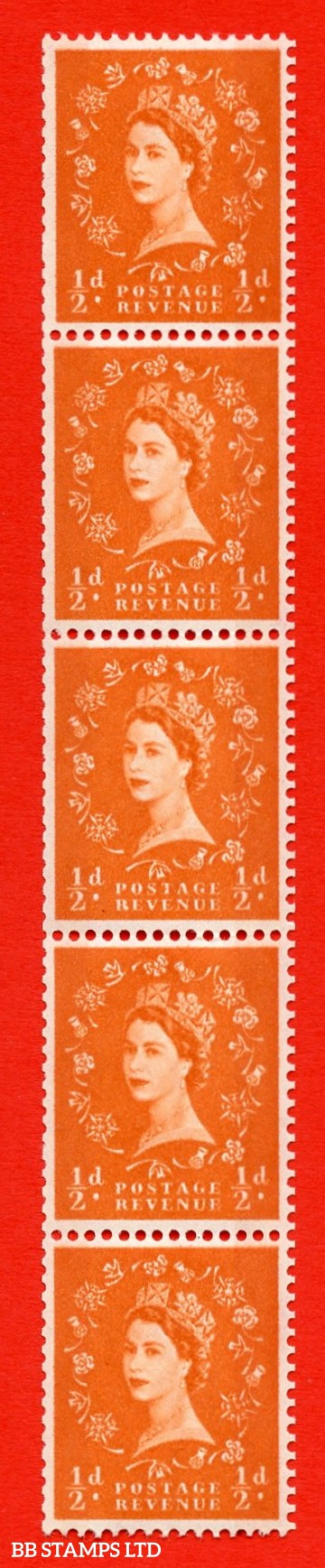 "SG.610. S11g. ½d  Orange red. A superb UNMOUNTED MINT example. Coil strip of 5. Blue phosphor white paper. With a ""R"" flaw ERROR. Roll 11 variety."