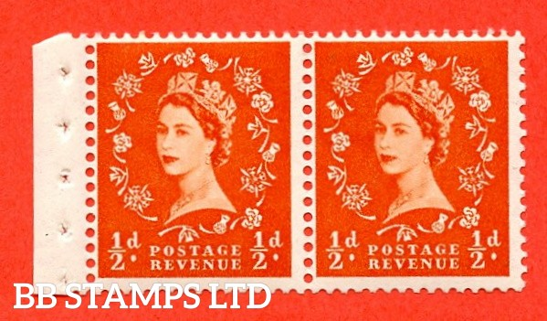 SG. 515. SB3. ½d Orange-Red. A fine UNMOUNTED MINT. Complete booklet pane of 2 with perf type E½v Top. Good perfs.