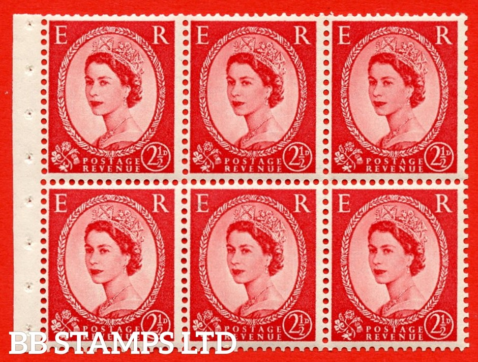 SG. 519 b. SB80. 2½d carmine - red. A fine UNMOUNTED MINT. Complete booklet pane of 6. Perf type (IS) with Good PERFS.