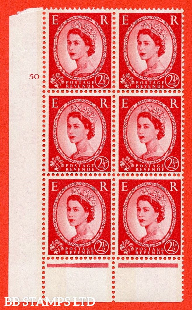 "SG. 614. S61. 2½d carmine red. A fine mounted mint "" cylinder 50 no dot "" control block of 6 with perf type B (I/P). Green Phosphor."