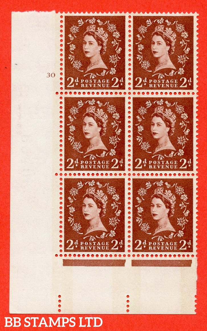 "SG.613a. S46. 2d Light red brown. Letterpress A fine mounted mint "" cylinder 30 no dot "" control block of 6 with perf type A (E/I). Blue Phosphor Cream paper."