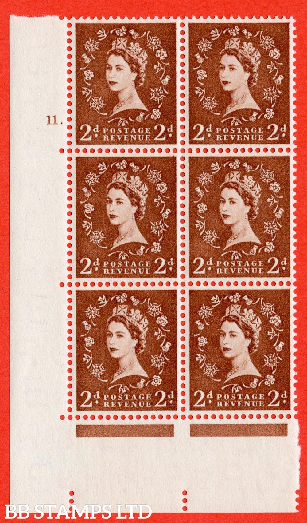 "SG. 543b. S38. 2d. Light Red-brown. A superb UNMOUNTED MINT "" cylinder 11 dot "" control block of 6 with perf type A E/I."