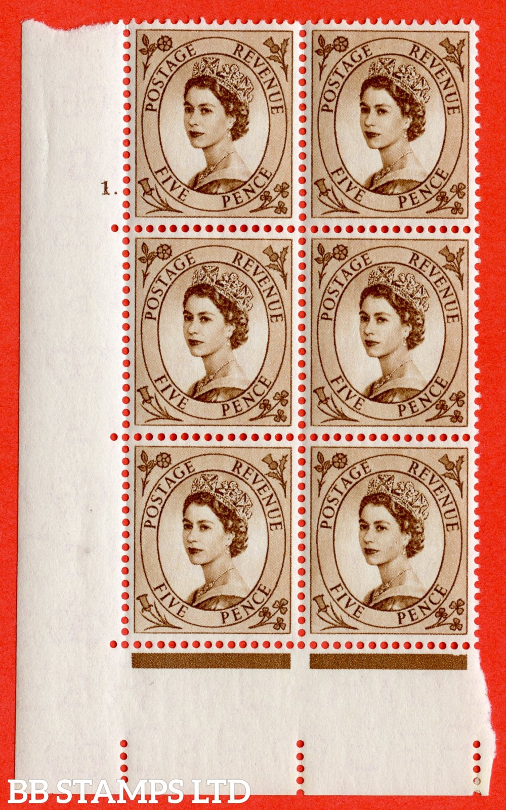 "SG. 547. S100. 5d. Brown. A superb UNMOUNTED MINT "" cylinder 1 dot "" control block of 6 with perf type A E/I."
