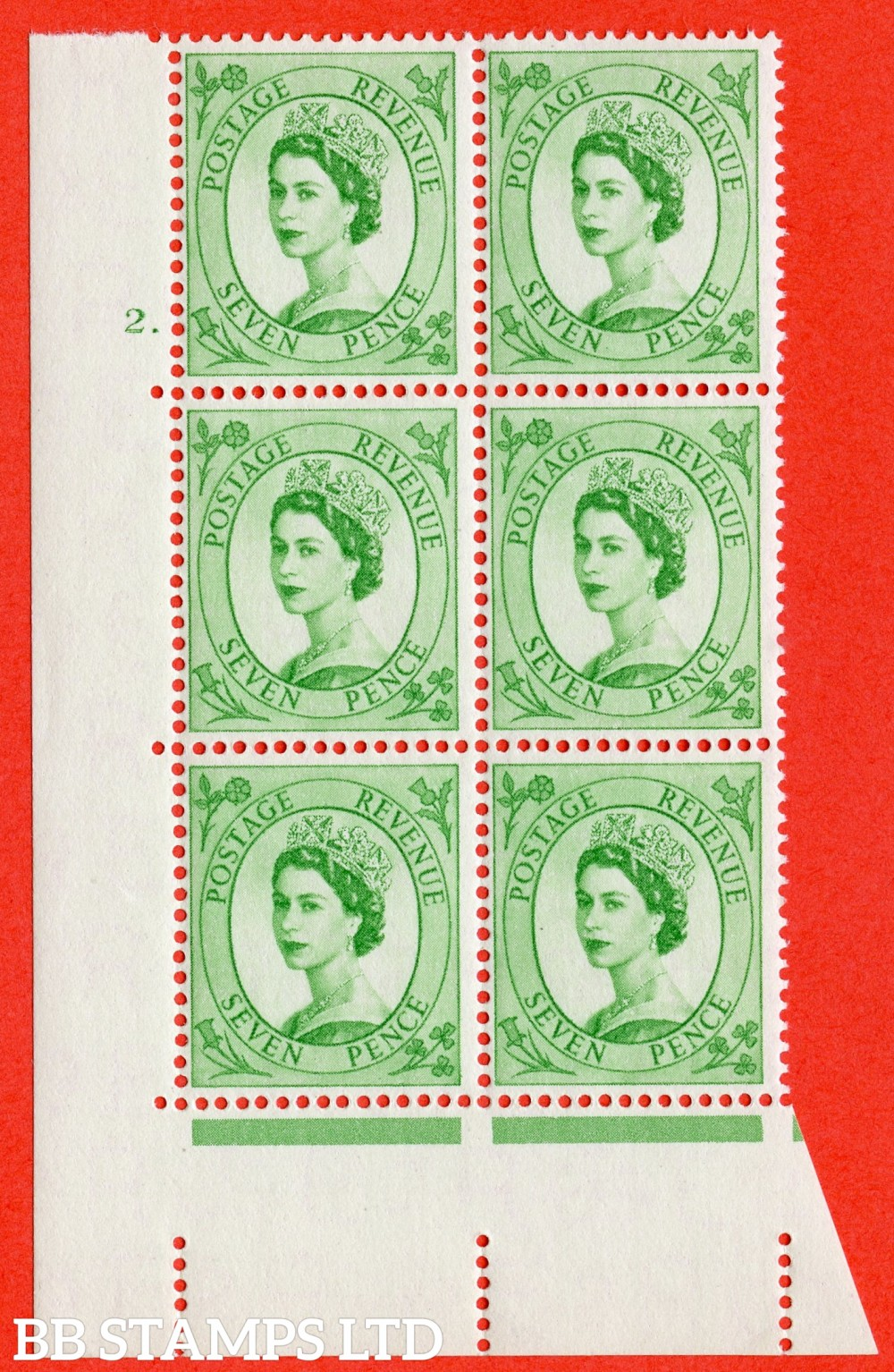 "SG. 549. S115. 7d. Bright Green. A superb UNMOUNTED MINT "" cylinder 2 dot "" control block of 6 with perf type A E/I."