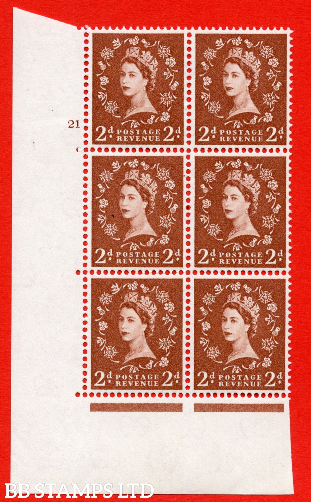 "SG. 573. S40. 2d light red brown . A superb UNMOUNTED MINT "" cylinder 21 no dot "" control block of 6 with perf type A E/I. CREAM paper."