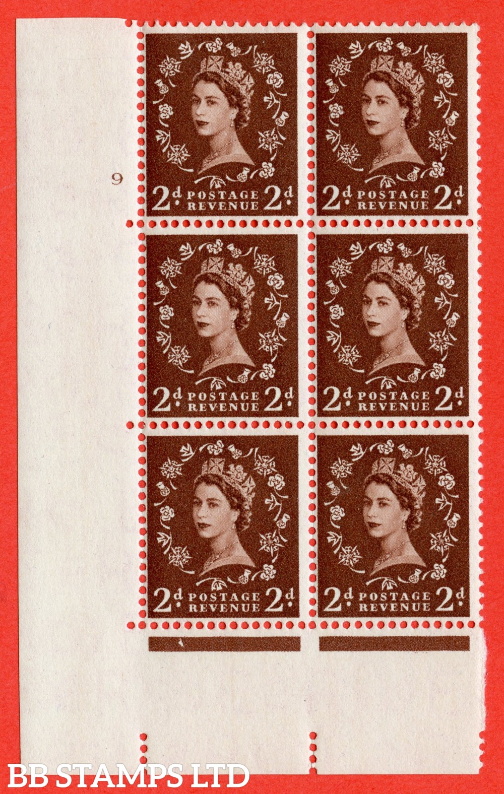 "SG. 543. S37. 2d. Red-brown. A superb UNMOUNTED MINT "" cylinder 9 no dot "" control block of 6 with perf type A E/I."