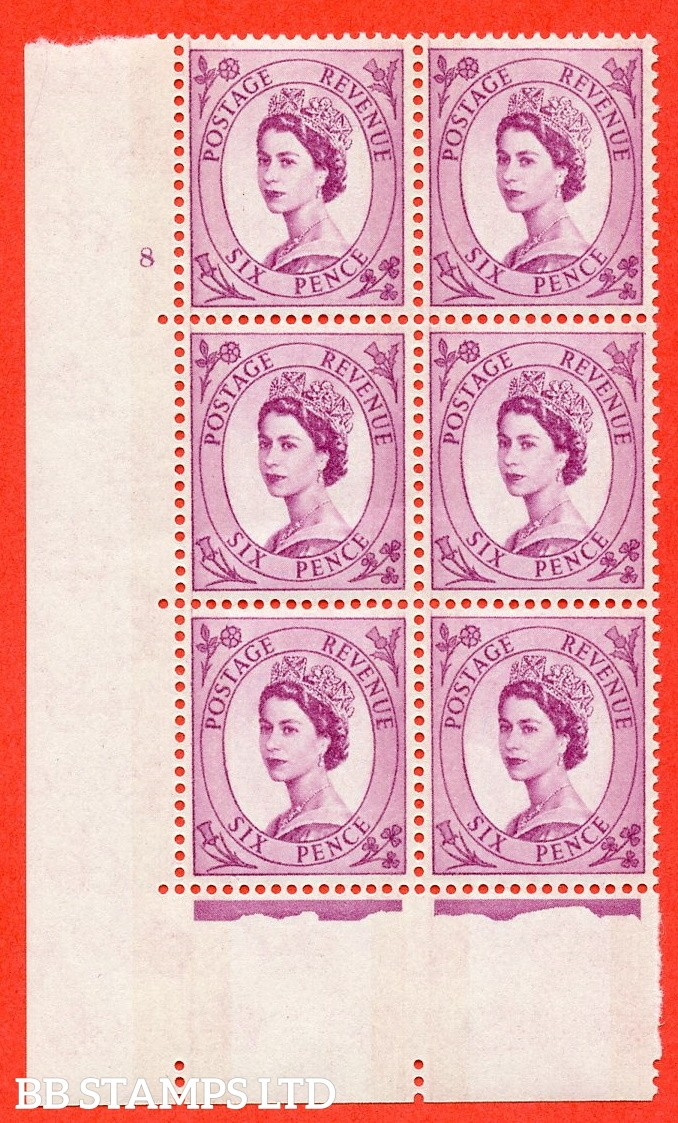 "SG.617. S111. 6d Deep Claret. Photo.  A fine mounted mint "" cylinder 8 no dot "" control block of 6 with perf type A (E/I). Blue Phosphor White paper."