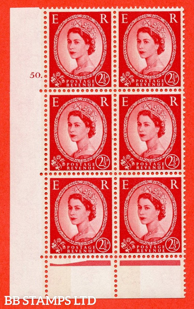 "SG. 614. S61. 2½d carmine red. A fine mounted mint "" cylinder 50 dot "" control block of 6 with perf type C (E/P). Green Phosphor."