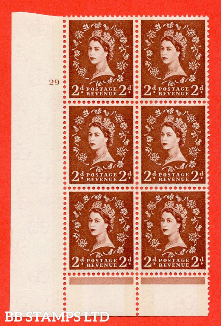 "SG.613a. S46d. 2d Light red brown. Photo. A fine mounted mint "" cylinder 29 no dot "" control block of 6 with perf type B (I/P). Blue Phosphor Cream paper."