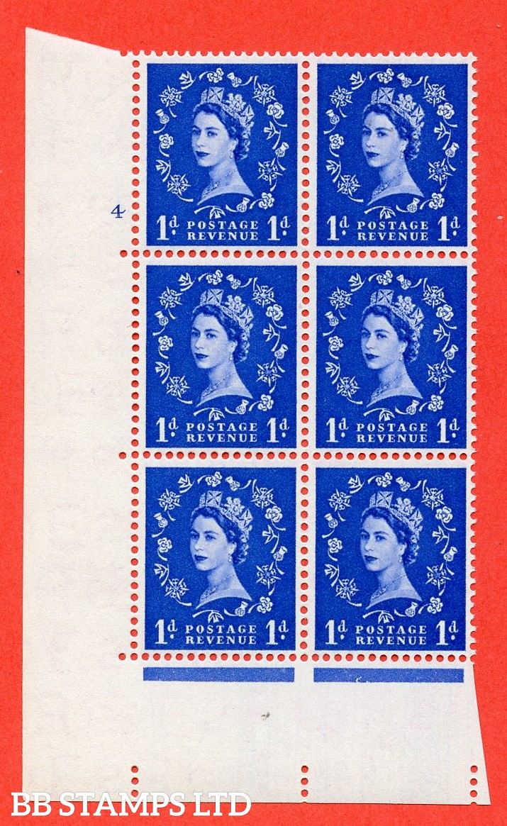 "SG. 541. S14. 1d. Ultramarine. A superb UNMOUNTED MINT "" cylinder 4 no dot "" control block of 6 with perf type A E/I"