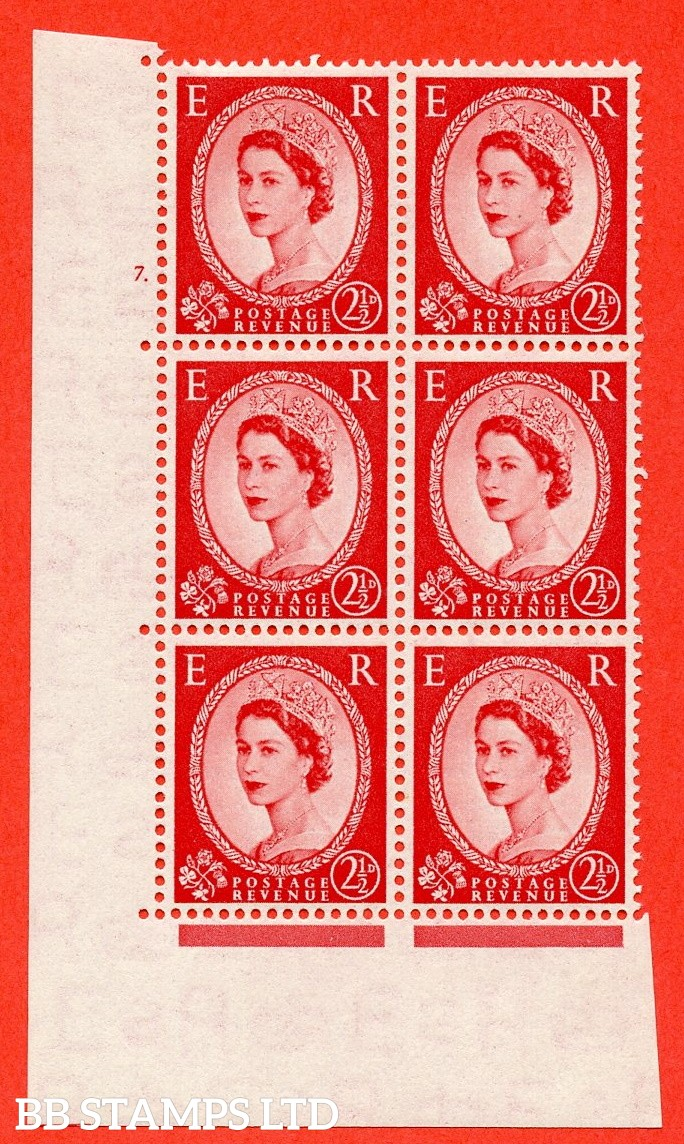 "SG. 519. S50. 2½d Carmine Red. A fine mounted mint "" cylinder 7 dot "" control block of 6 with perf type A E/I."