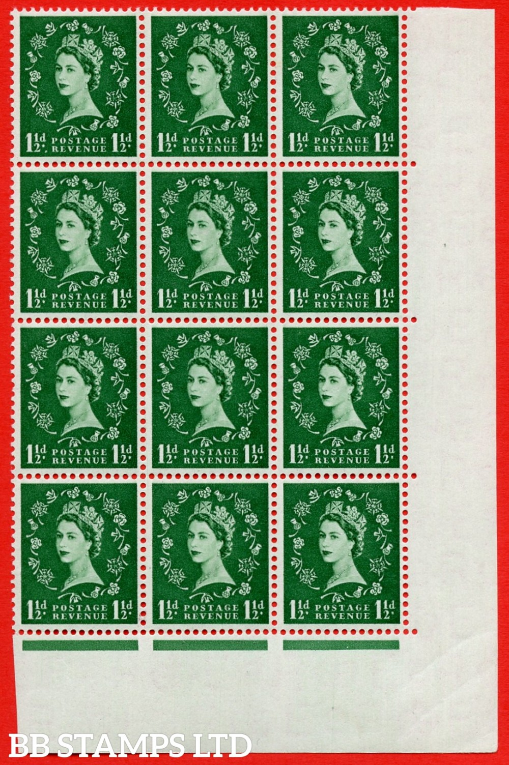 SG. 542. S26d. 1½d. Green. A superb UNMOUNTED MINT example from cylinder 13 dot block of 12. Variety Extra dot R.17/10