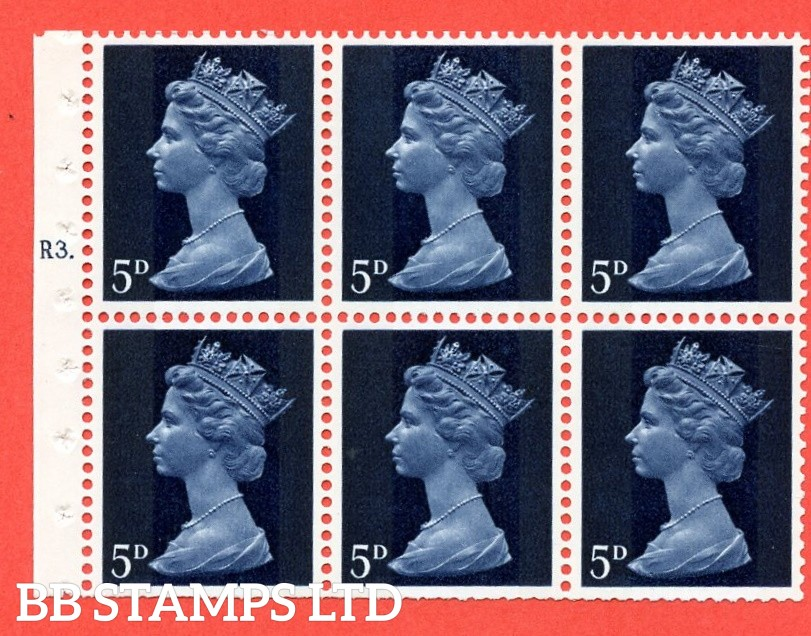 UB19 5d 2 Bands. UNMOUNTED MINT Complete Pre decimal machin Cylinder Pane of 6 R3T Dot . (UB19) Perf Type Iet. Trimmed Perfs.