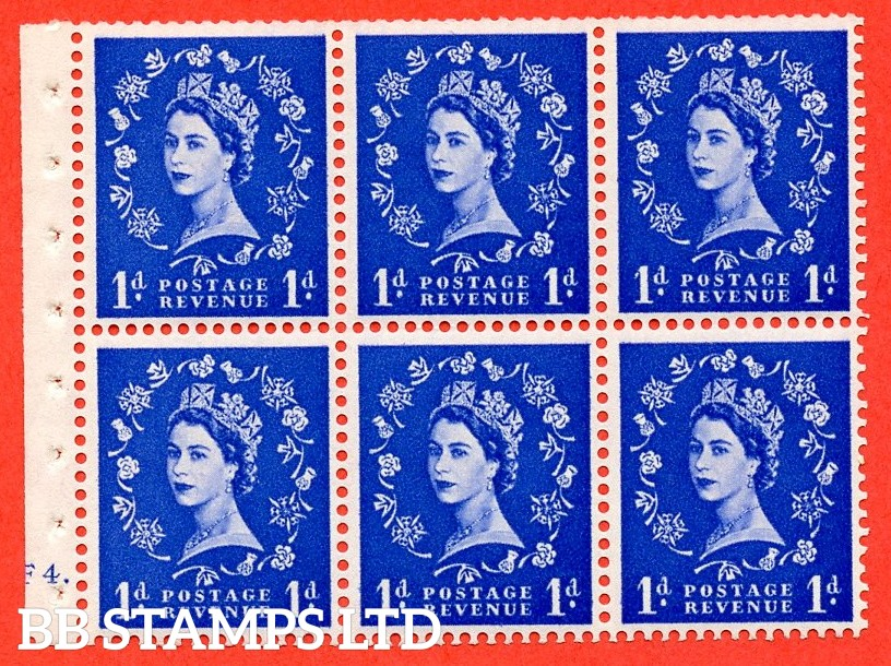 "SG. 541. SB26b. 1d ultramarine. A fine UNMOUNTED MINT cylinder "" F4 dot "" booklet pane of 6. Perf type (Ieb) with TRIMMED PERFS. Smooth edge. Listed variety "" Dot on Serif ""."