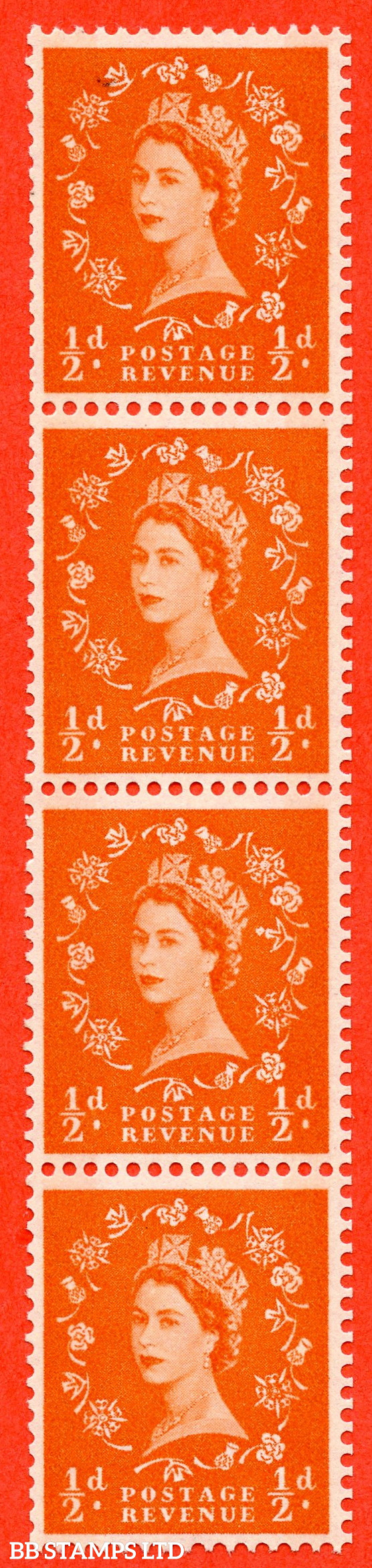SG.610. S12e. ½d Orange red. A superb UNMOUNTED MINT example. Coil strip of 5. violet Phosphor 8mm Band. With a large dot by daffodil ERROR. Roll 4 variety.