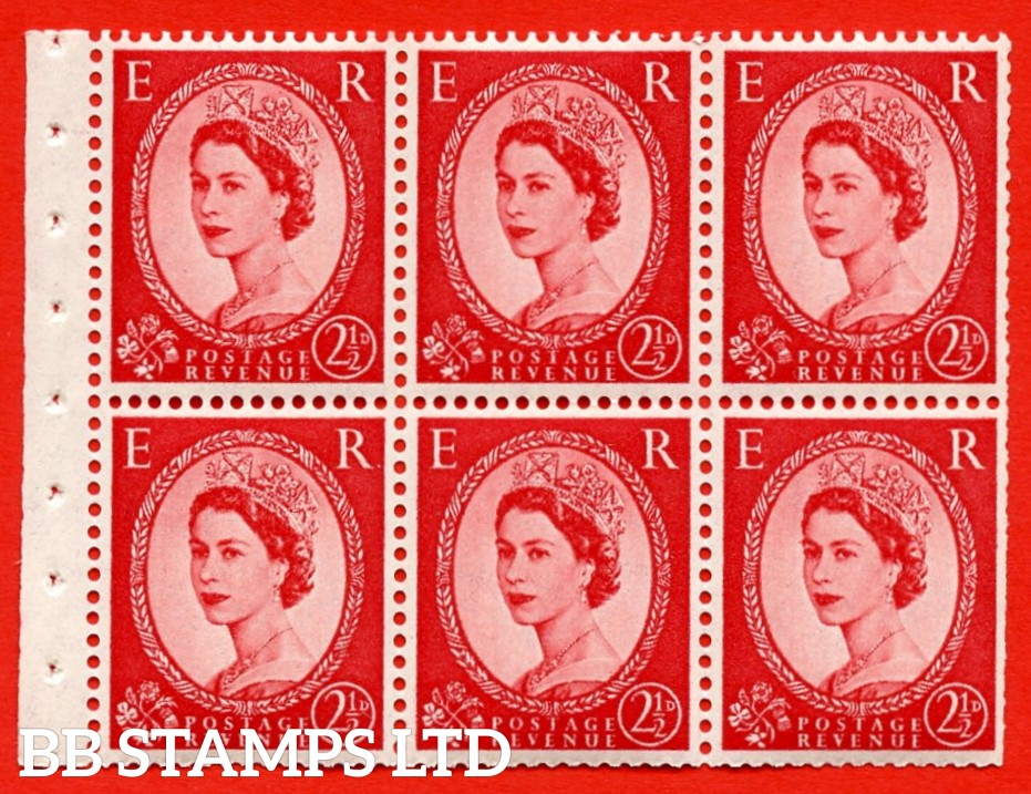 SG. 519 b. SB80. 2½d carmine - red. A fine UNMOUNTED MINT. Complete booklet pane of 6. Perf type (IS) with Trimmed PERFS.