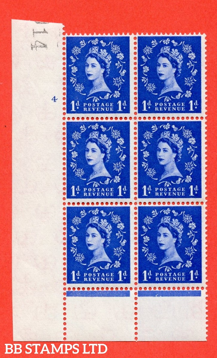 """SG. 571. S16. 1d Ultramarine. A fine mounted mint """" cylinder 4 no dot """" control block of 6 with perf type B I/P. CREAM paper."""