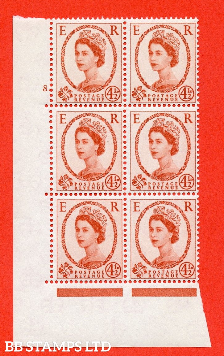 "SG. 577. S94. 4½d Chestnut. A superb UNMOUNTED MINT "" cylinder 8 dot "" control block of 6 with perf type A E/I. WHITE paper."