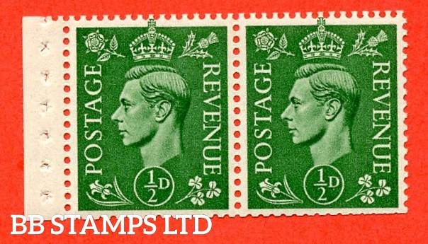 "SG. 485e. QB6. ½d . Pale Green A fine UNMOUNTED MINT.  complete booklet pane of 2. Perf type ""E"". Trimmed Perfs."