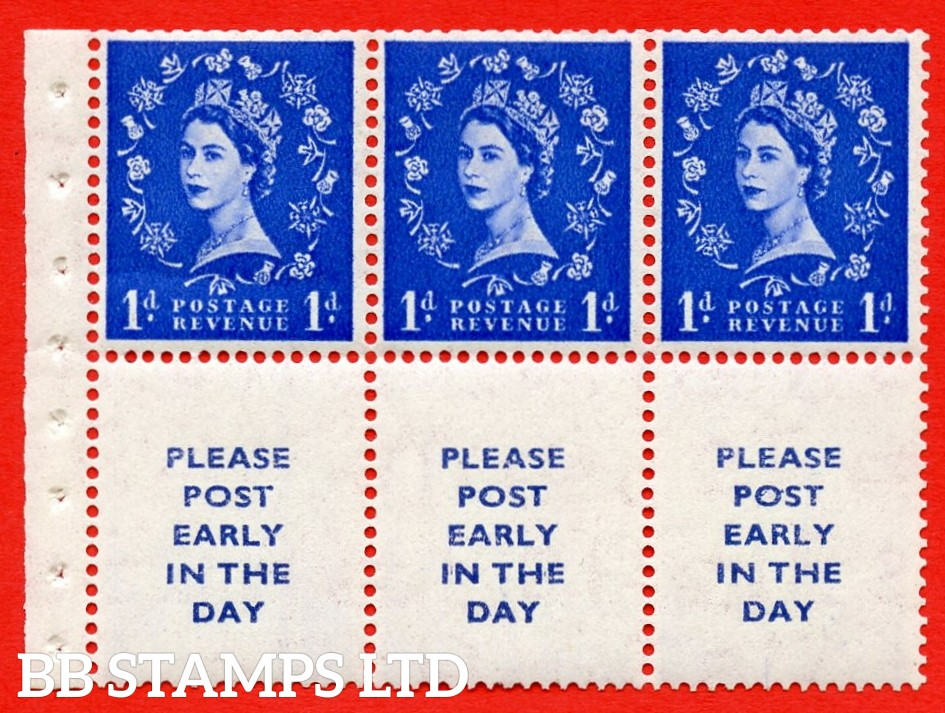 SG. 516La. SB24A. 1d ultramarine Modified setting. A fine UNMOUNTED MINT. Complete booklet pane of 6. Perf type (IR) with Good PERFS.