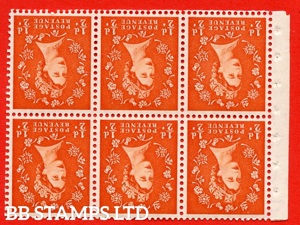 SG. 515Wi. SB1a. ½d orange - red. A fine UNMOUNTED MINTexample. INVERTED WATERMARK. Complete Booklet pane of 6. Perf Type Ieb. Good perfs.