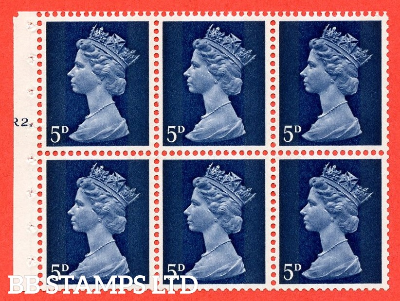 UB19 5d 2 Bands. UNMOUNTED MINT Complete Pre decimal machin Cylinder Pane of 6 R2T Dot . (UB19) Perf Type Iet. Good Perfs.