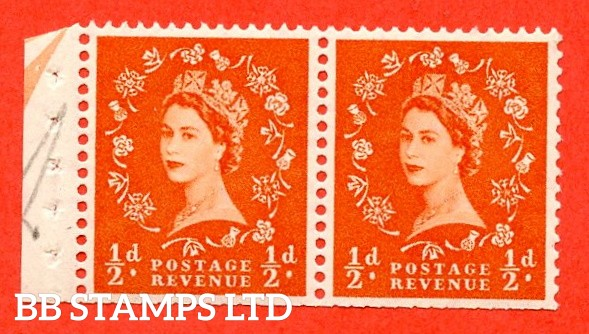 SG. 515. SB3. ½d Orange-Red. A fine UNMOUNTED MINT. Complete booklet pane of 2 with perf type E½v Top. Trimmed perfs.
