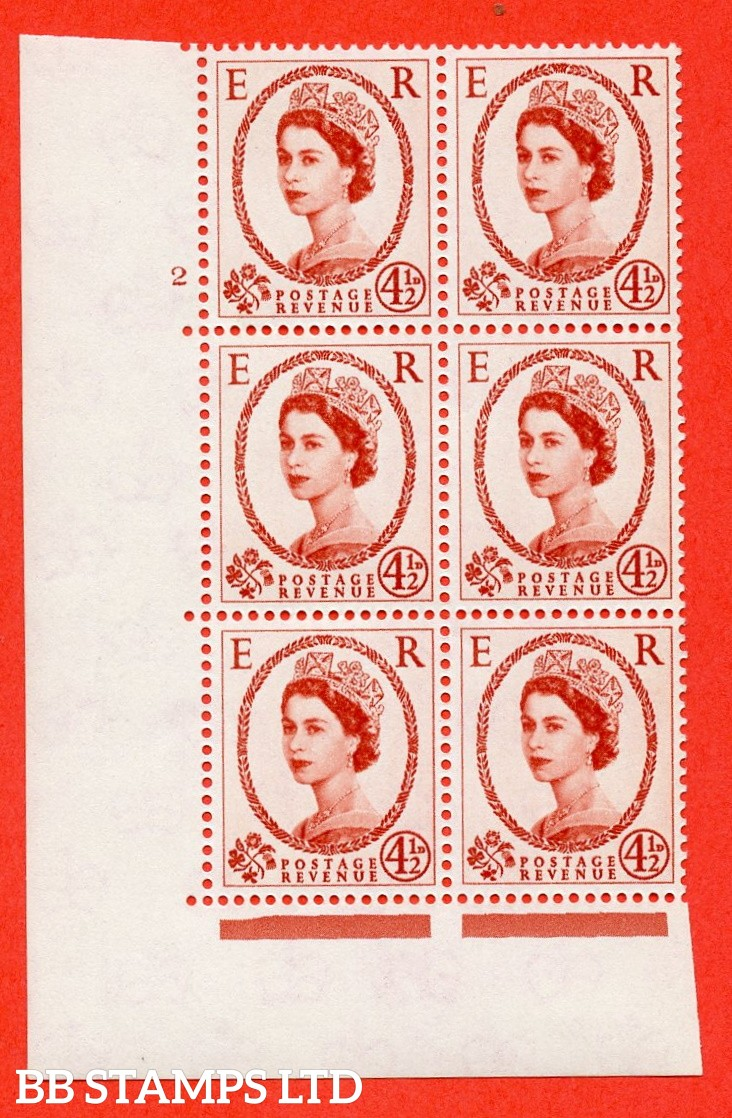 "SG. 577 S93. 4d½ chestnut  A fine mounted mint "" cylinder 2 no dot "" control block of 6 with perf type A (E/I)."