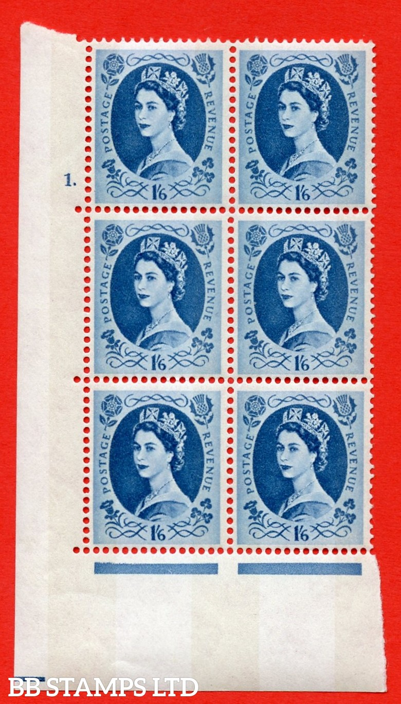 "SG.618a. S154. 1/_6d Grey Blue. A superb UNMOUNTED MINT "" cylinder 1 dot "" control block of 6 with perf type A (E/I). violet Phosphor 9½mm Band. Variety White flaw in queens hair R20/1."