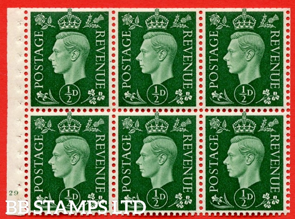 SG. QB1 Perf Type B3(I). ½d Green x 6 Pane, MOUNTED MINT Watermark Upright. Cylinder Pane E29 no dot ( SG. 462b ) Perf Type B3(I). Trimmed Perfs.