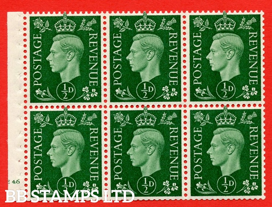 SG. QB1 Perf Type B3(I). ½d Green x 6 Pane, MOUNTED MINT Watermark Upright. Cylinder Pane E46 no dot ( SG. 462b ) Perf Type B3(I). Good Perfs.