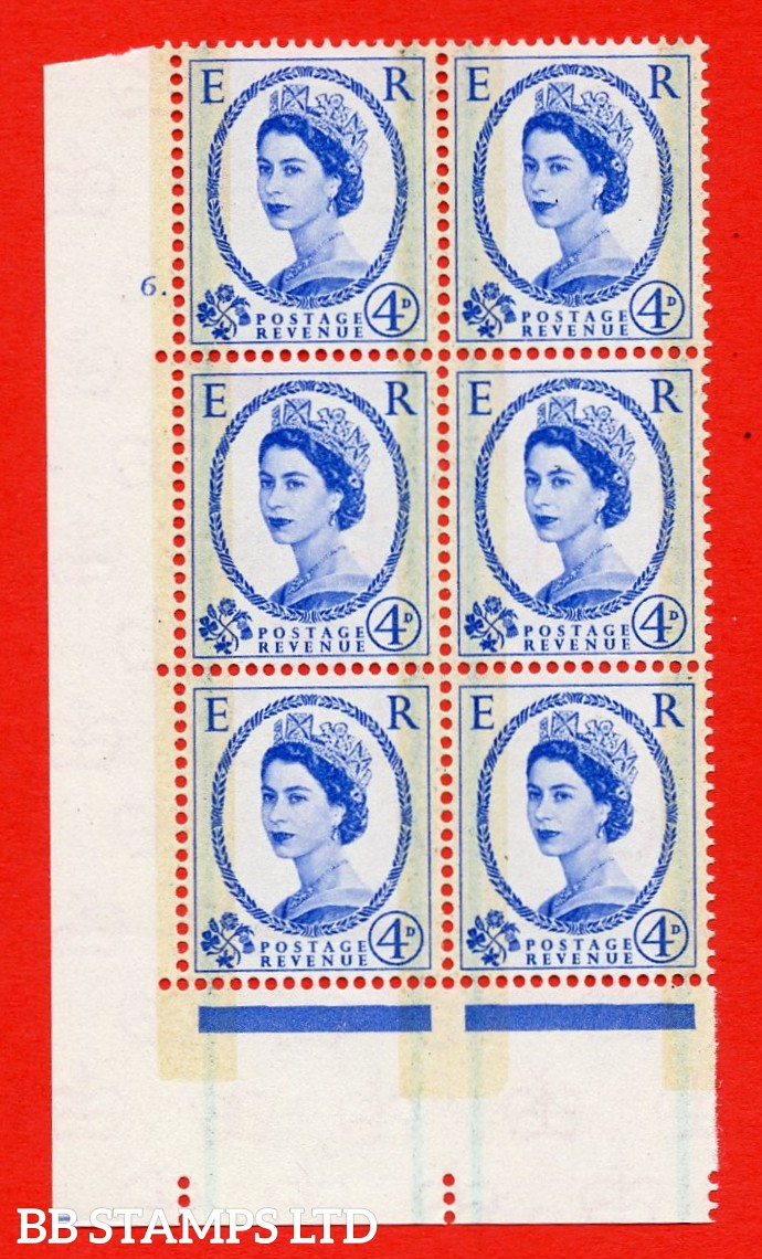 "SG. 608. S87. 4d Ultramarine. A superb UNMOUNTED MINT "" cylinder 6 dot "" control block of 6 with perf type A E/I."